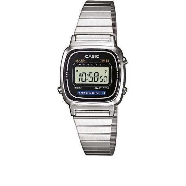 CASIO Retro LCD, WEGA LADY, Digitaluhr, silber-schwarz_6308