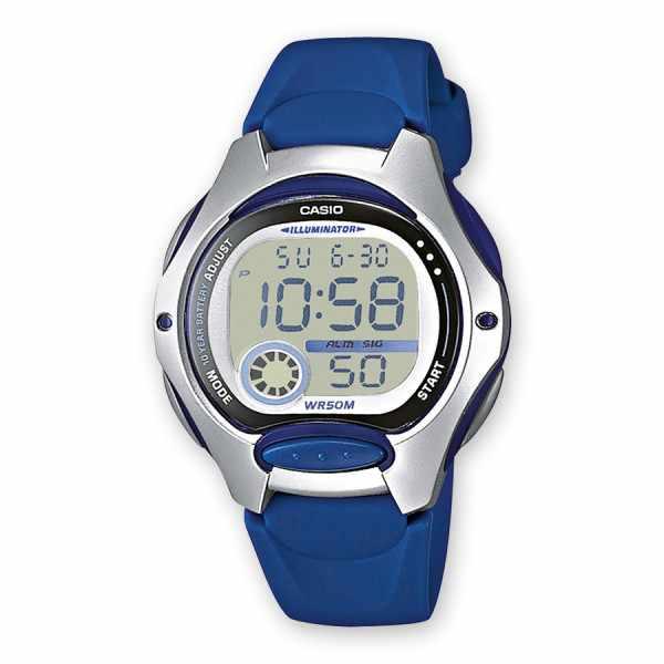 CASIO, LCD Illuminator Sportuhr klein, silber-blau_6312