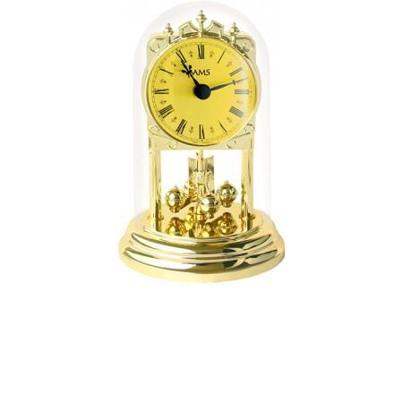 AMS, Haller Tourelles Jahresuhr mit Glasglocke, Quartz gold