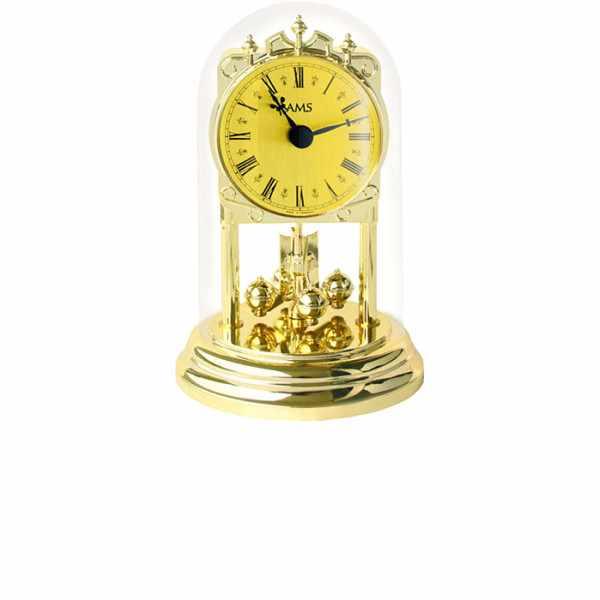 AMS Haller Tourelles Jahresuhr mit Glasglocke, Quartz gold_6347