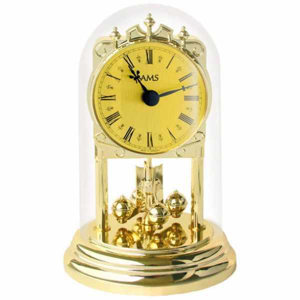AMS Haller Tourelles Jahresuhr mit Glasglocke, Quartz gold_6348