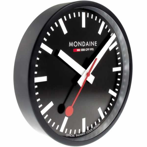 MONDAINE Wall Clock original SBB Bahnhofswanduhr, schwarz_638