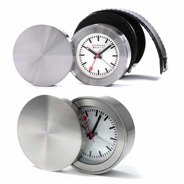 MONDAINE, Alarm Clock, Travel Alarm, Reisewecker, SBB Bahnhofsuhr_640