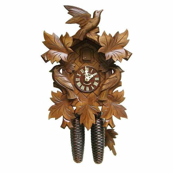 Kuckucksuhr Klassik Black Forest, Holz Wanduhr mechanisch 39cm 8 Tage_6436