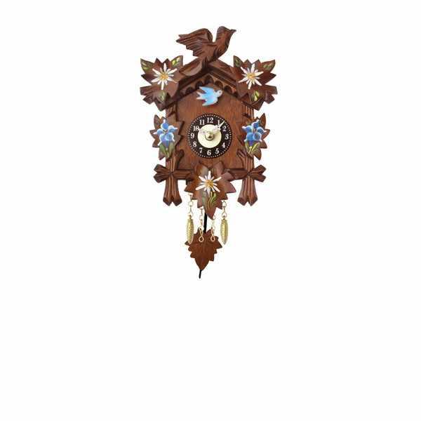 Kuckucksuhr, Klassik Black Forest, Holz Wanduhr Quartz 17cm koloriert_6444