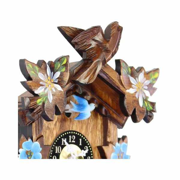 Kuckucksuhr, Klassik Black Forest, Holz Wanduhr Quartz 17cm koloriert_6445
