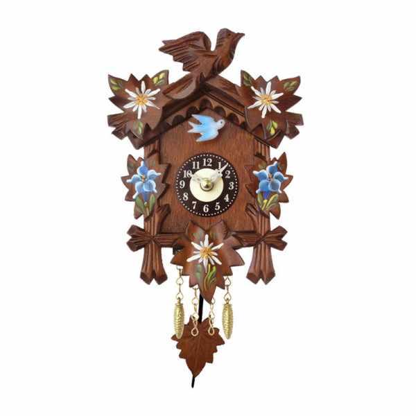 Kuckucksuhr, Klassik Black Forest, Holz Wanduhr Quartz 17cm koloriert_6446