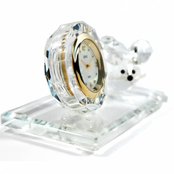 _ZENO Miniaturuhr aus Bleikristall, Quartz Tischuhr mit Maus_6475