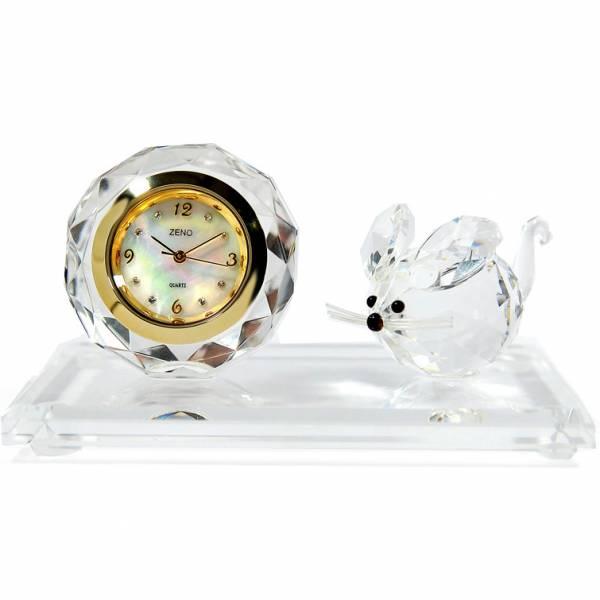 _ZENO Miniaturuhr aus Bleikristall, Quartz Tischuhr mit Maus_6476