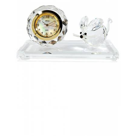 ZENO, Miniaturuhr aus Bleikristall, Quartz Tischuhr mit Maus
