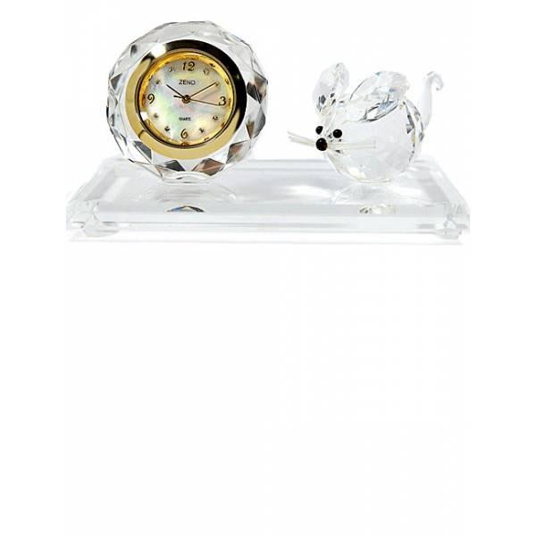 _ZENO Miniaturuhr aus Bleikristall, Quartz Tischuhr mit Maus_6477