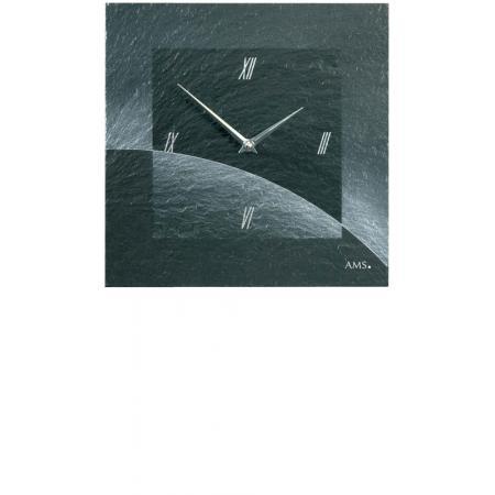 VAERST, Schiefer, Funkwanduhr, Airbrush Design, römisch silber