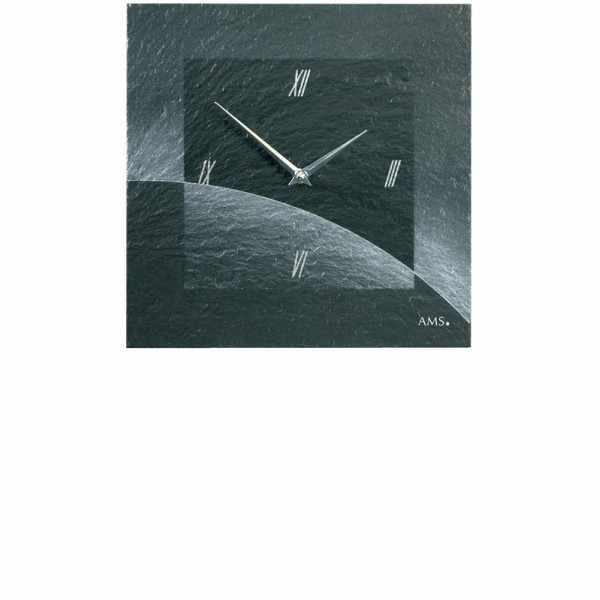 VAERST, Schiefer, Funkwanduhr, Airbrush Design, römisch silber_6484