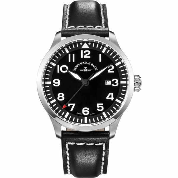 ZENO-WATCH BASEL, Pilot Navigator, Quartz Fliegeruhr, schwarz_6529