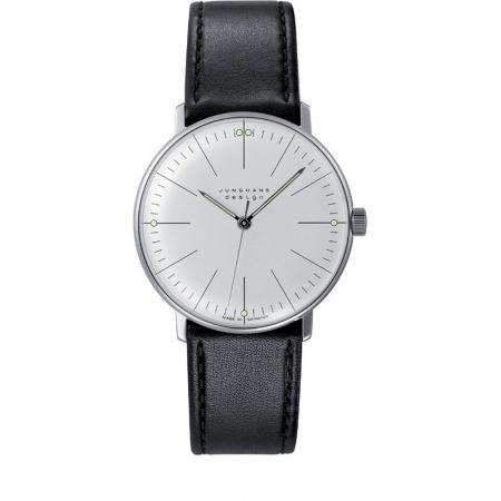 Junghans MAX BILL 35 Handaufzuguhr, Stripes weiss, Lederband_6553