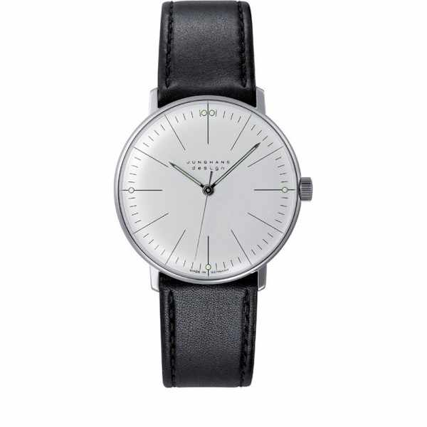 Junghans, MAX BILL 35 Handaufzuguhr, Stripes weiss, Lederband_6553