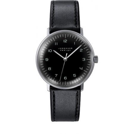 Junghans, MAX BILL 35 Handaufzuguhr, Numbers schwarz, Lederband