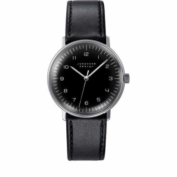 Junghans MAX BILL 35 Handaufzuguhr, Numbers schwarz, Lederband_6556
