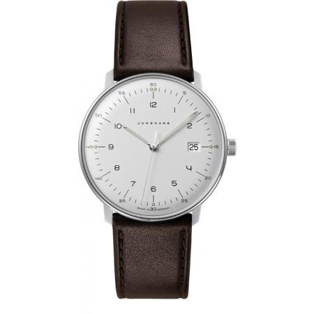 Junghans MAX BILL 38 Quartz, Numbers weiss, Datum, Lederband