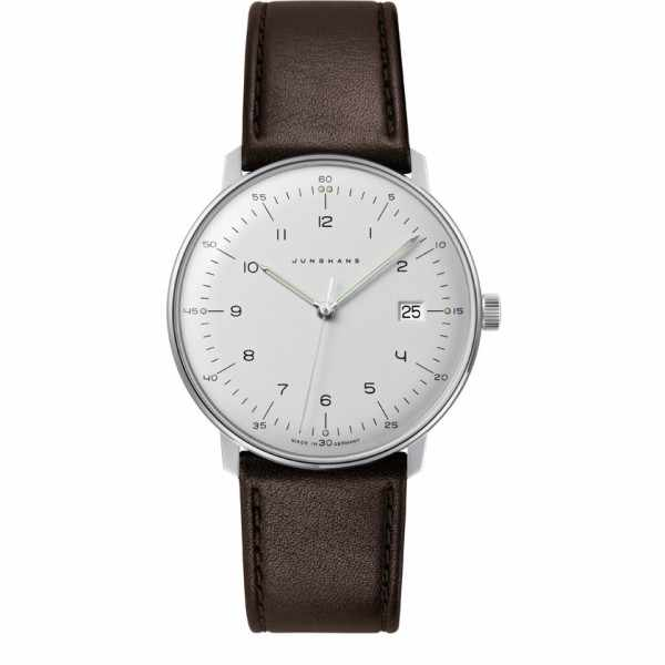 Junghans MAX BILL 38 Quartz, Numbers weiss, Datum, Lederband_6814