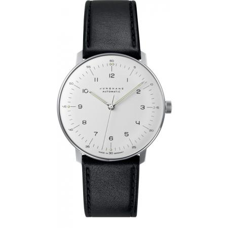 Junghans MAX BILL 38 Automatikuhr, Numbers weiss, Lederband