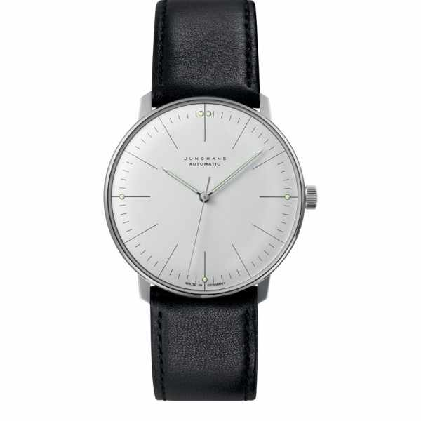 Junghans MAX BILL 38 Automatikuhr, Stripes weiss, Lederband_6913