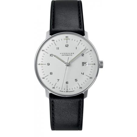 Junghans MAX BILL 38 Automatikuhr, Numbers weiss, Datum, Lederband