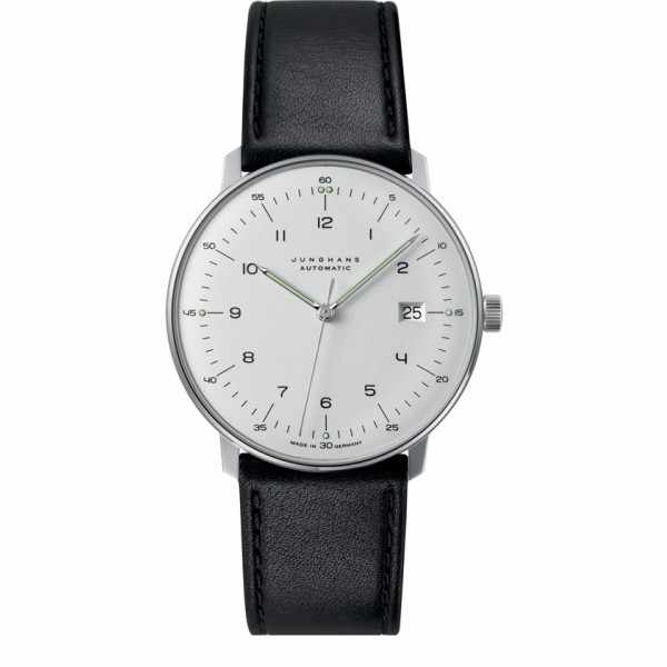 Junghans MAX BILL 38 Automatikuhr, Numbers weiss, Datum, Lederband_6916