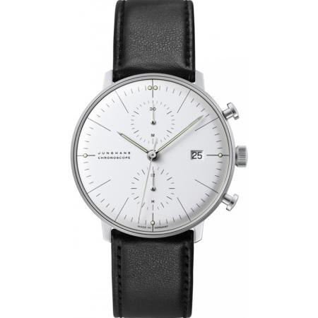 Junghans MAX BILL 40 Chronoscope, Automatik Stripes weiss Leder_7020
