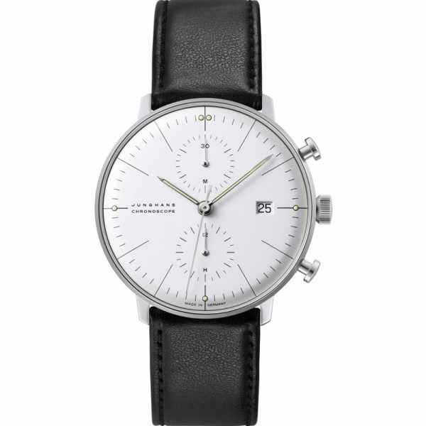 Junghans, MAX BILL 40 Chronoscope, Automatik Stripes weiss Leder_7020