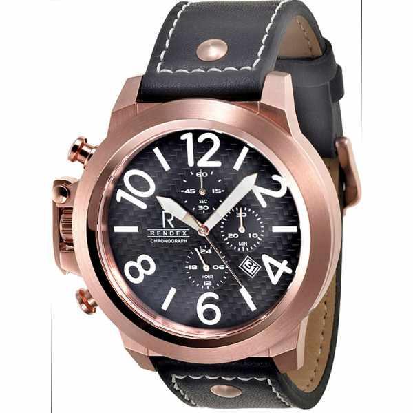 RENDEX, Airforce Chronograph, Linkshänderuhr, Edelstahl vergoldet_7288