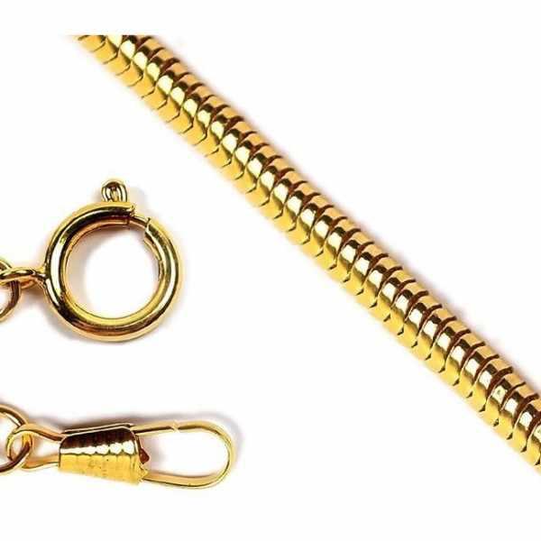 Taschenuhrkette, Schlangenkordel gold_7317