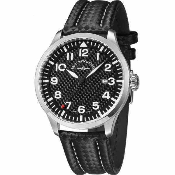 ZENO-WATCH BASEL, Pilot Navigator, Quartz Fliegeruhr, Carbon_7488