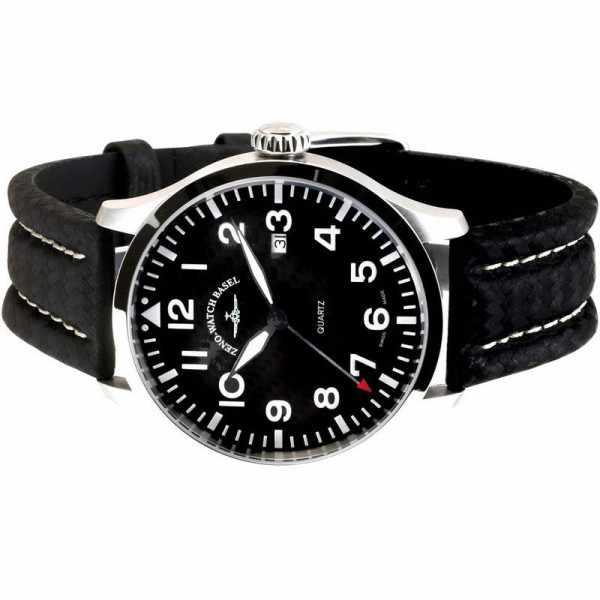 ZENO-WATCH BASEL, Pilot Navigator, Quartz Fliegeruhr, Carbon_7491