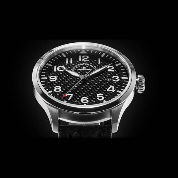 ZENO-WATCH BASEL, Pilot Navigator, Quartz Fliegeruhr, Carbon_7492