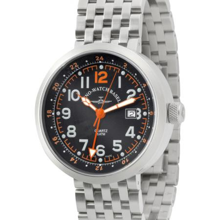 ZENO-WATCH BASEL, Pilot Rondo Quartz Fliegeruhr, GMT Stahl orange MB_7583