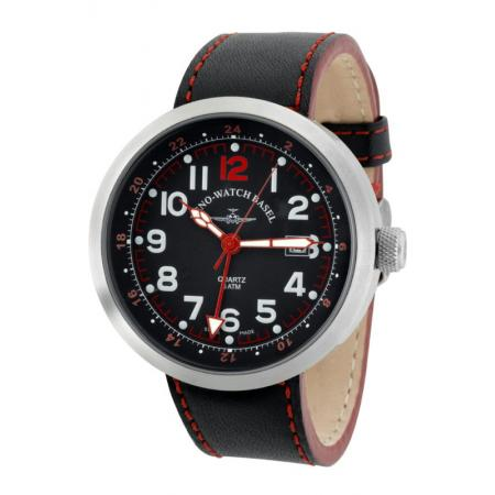 ZENO-WATCH BASEL, Pilot Rondo Quartz Fliegeruhr, GMT Stahl rot_7585