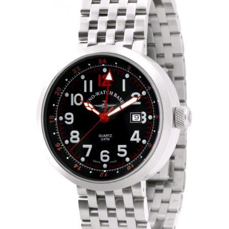 ZENO-WATCH BASEL, Pilot Rondo Quartz Fliegeruhr, GMT Stahl rot MB_7587