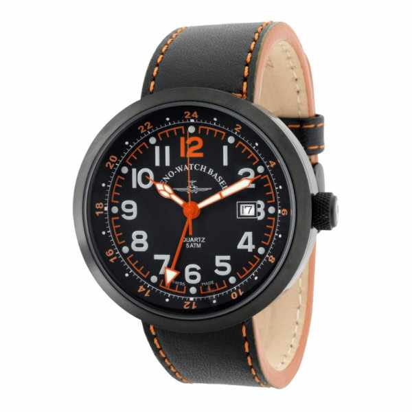 ZENO-WATCH BASEL, Pilot Rondo Quartz Fliegeruhr, GMT schwarz/orange_7589