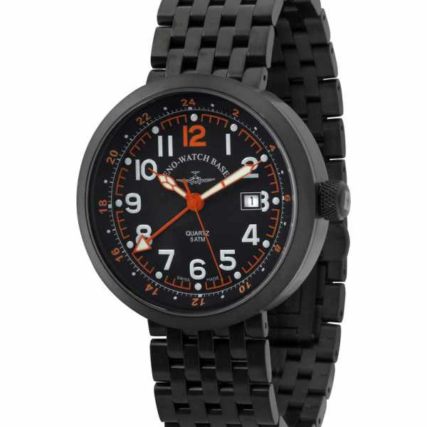 ZENO-WATCH BASEL, Pilot Rondo Quartz Fliegeruhr, GMT schwarz/orange M_7590