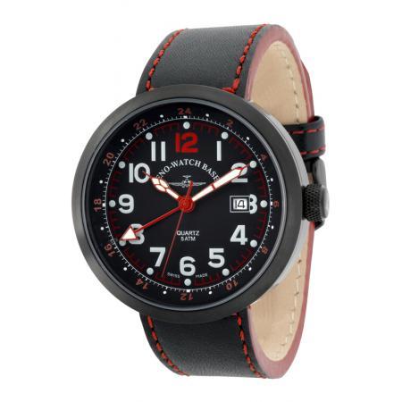 ZENO-WATCH BASEL, Pilot Rondo Quartz Fliegeruhr, GMT schwarz/rot_7591