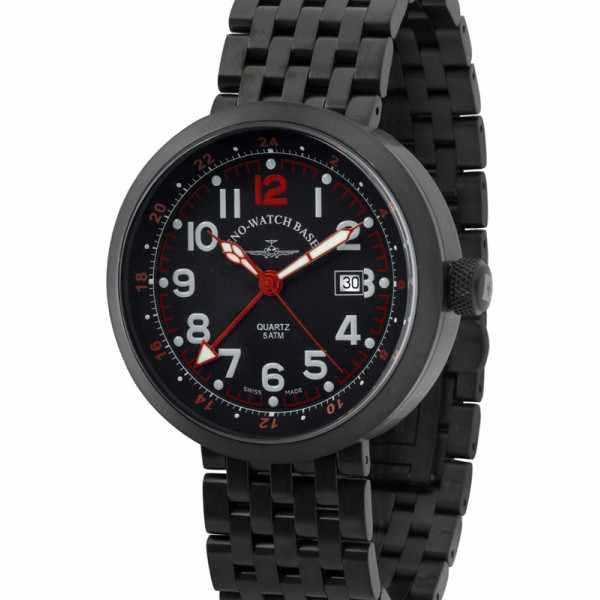 ZENO-WATCH BASEL, Pilot Rondo Quartz Fliegeruhr, GMT schwarz/rot M_7592
