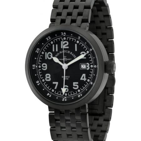 ZENO-WATCH BASEL, Pilot Rondo Quartz Fliegeruhr, GMT schwarz M_7593
