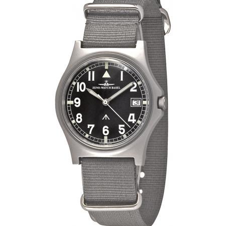 ZENO-WATCH BASEL, Broadarrow Fliegeruhr Quartz, Edelstahl, Natoband_7647