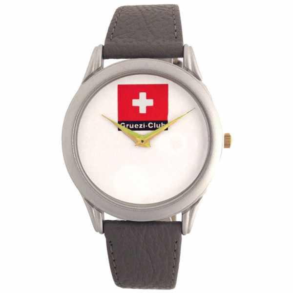Grüezi Club, flache XL Quartzuhr mit Schweizer Fahne_7781
