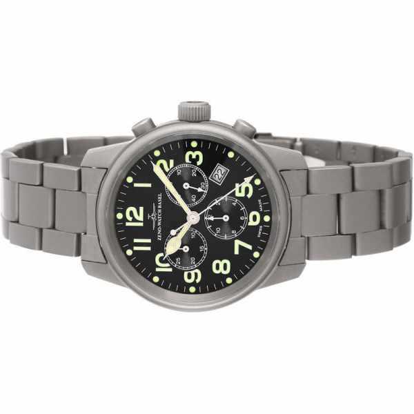 ZENO-WATCH BASEL, Pilot Classic, Quartz Fliegeruhr, Chronograph Titan_7818