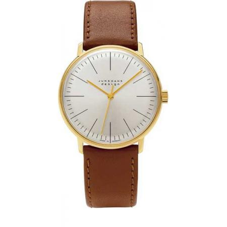 Junghans, MAX BILL 35 Handaufzuguhr, Stripes weiss, vergoldet