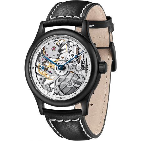 ZENO-WATCH BASEL, Retro XL Skelettuhr Ltd, Handaufzug schwarz