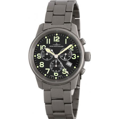 ZENO-WATCH BASEL, Pilot Classic, Quartz Fliegeruhr, Chronograph Titan_7917