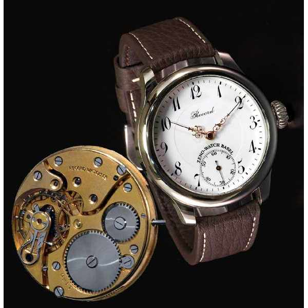 ZENO-WATCH BASEL, Retro Record, Handaufzug Uhr mit altem Uhrwerk_797
